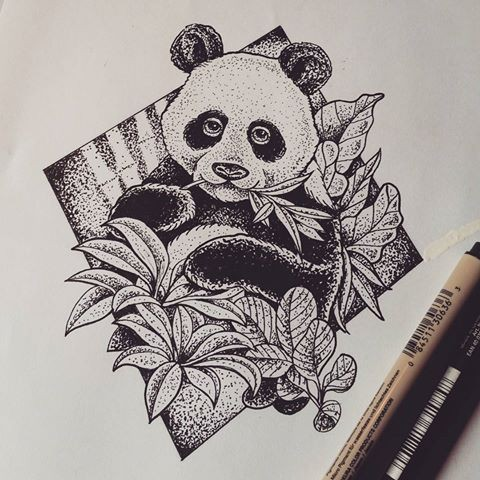 Pleased dotwork style panda with leaves in rhombus frame tattoo design
