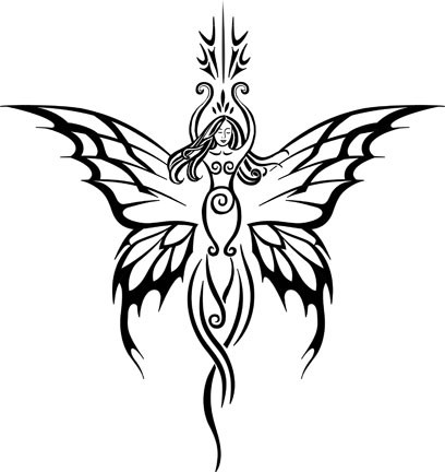 Pleased fairy with curly statuette body and butterfly wings tattoo design