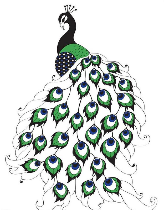Pleased green-and-black peacock tattoo design