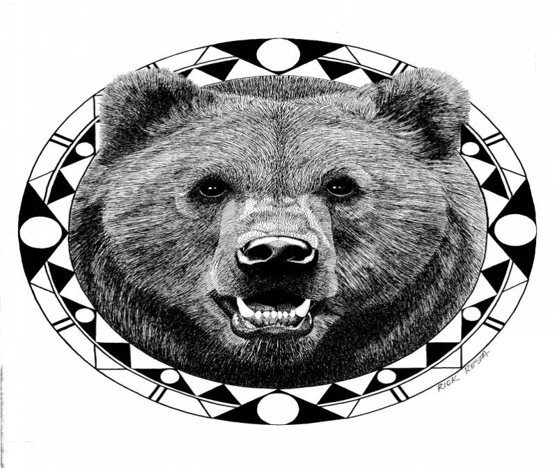 Pleased grey-ink grizzly portrait in geometric frame tattoo design