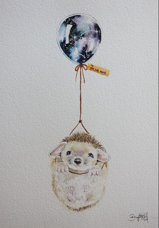 Pleased hedgehog flying by space-colored balloon tattoo design