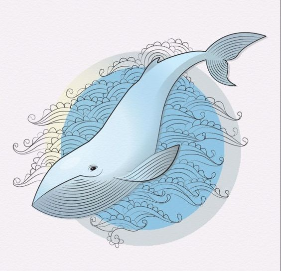 Pleased light blue whale on wave background tattoo design