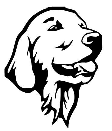 Pleased outline dog face tattoo design