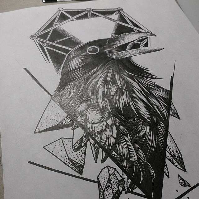 Pleased raven with dotwork and geometric elements tattoo design
