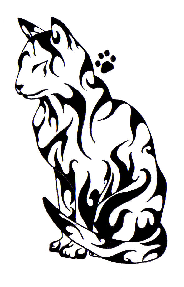 Pleased tribal cat with a paw print tattoo design ...