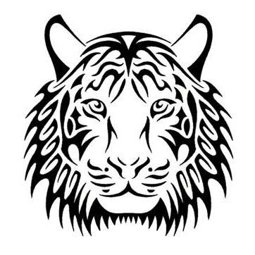 Pleased tribal tiger face tattoo design