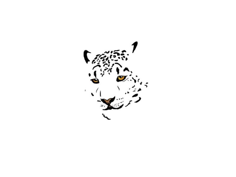 Pleased uncontoured yellow-eyed leopard head tattoo design
