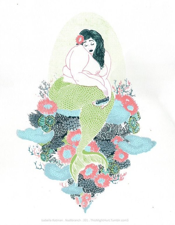 Plump upset green-tail mermaid sitting on colorful pile tattoo design