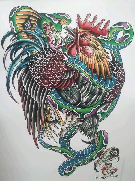 Poisonous cobra snake and angry rooster tattoo design