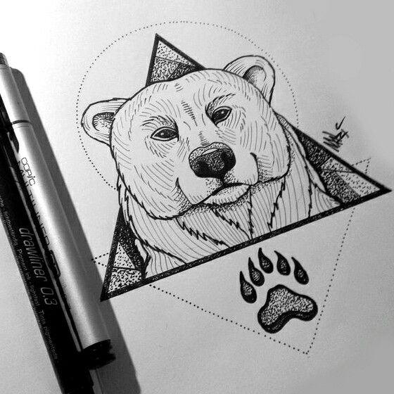 Polar bear on dotwork geometric drawings and paw print tattoo design