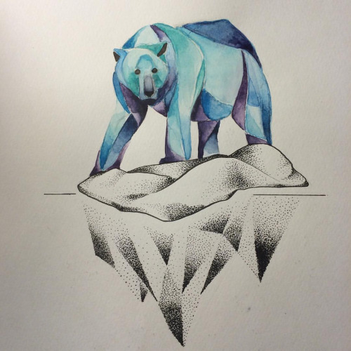 Polar bear on dotwork glacier tattoo design