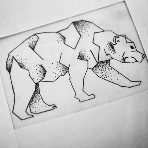 Polar bear with dotwork and geometric elements tattoo design