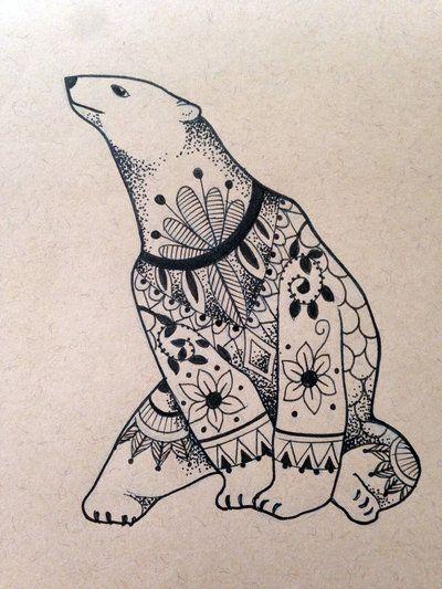 Polar bear with floral pattern tattoo design