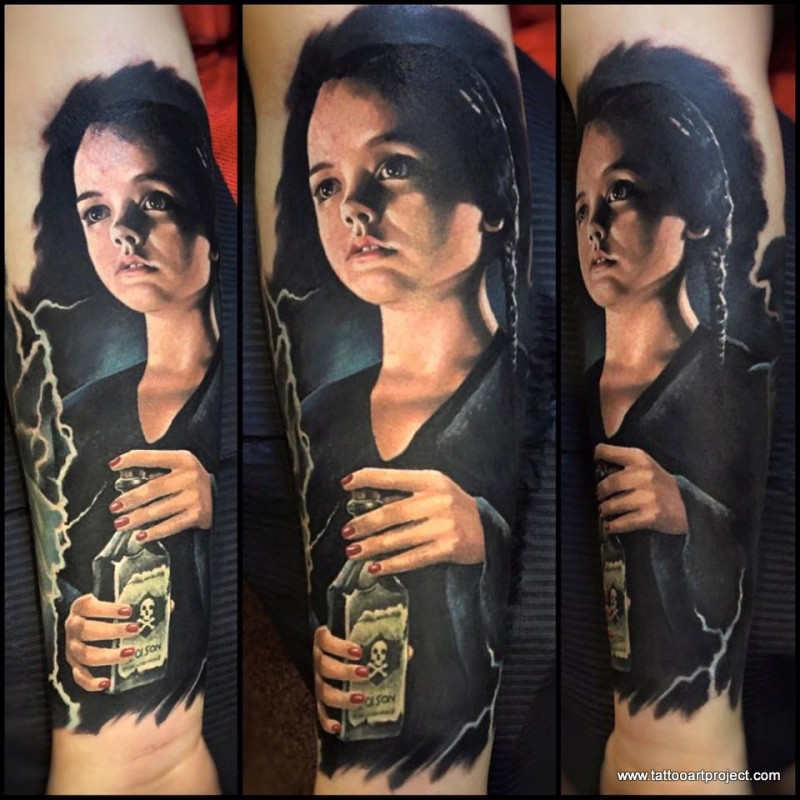 Portrait style colored tattoo of little girl with bottle