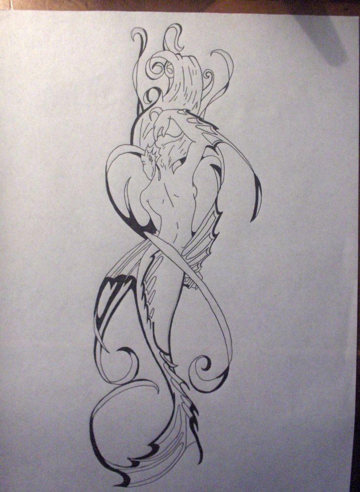Posh black-line tribal mermaid tattoo design