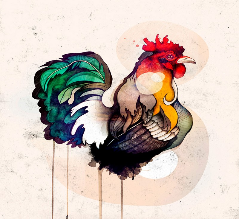 Posh bright watercolor rooster body without legs tattoo design