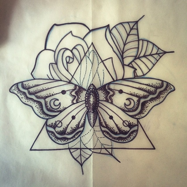 Posh grey butterfly and a huge rose in a triangle frame tattoo design
