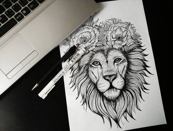 Posh grey lion head decorated with flower wreath tattoo design
