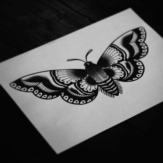dfa23940caa6f Posh old school black-and-white butterfly tattoo design ...
