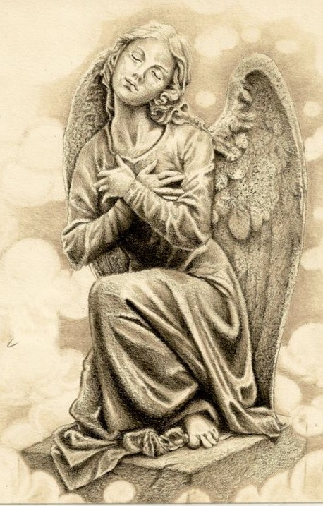 praying angel statue with closed eyes tattoo design. Black Bedroom Furniture Sets. Home Design Ideas