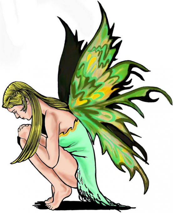 Praying fairy in green colors tattoo design