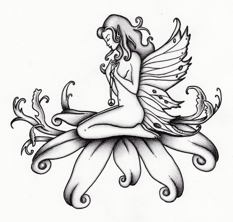 Praying fairy with a peace medallion sitting on floral petals tattoo design