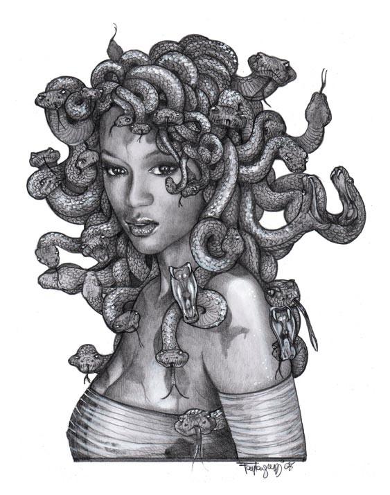 Pretty black-and-white dressed medusa gorgona tattoo design