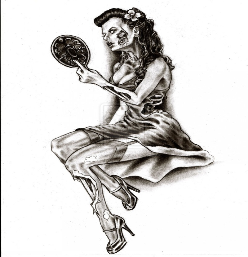 Pretty black-ink pin up zombie girl looking in the mirror tattoo design