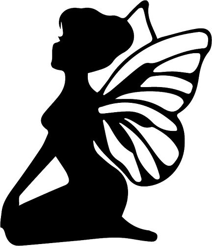 Pretty black-ink sitting fairy tattoo design