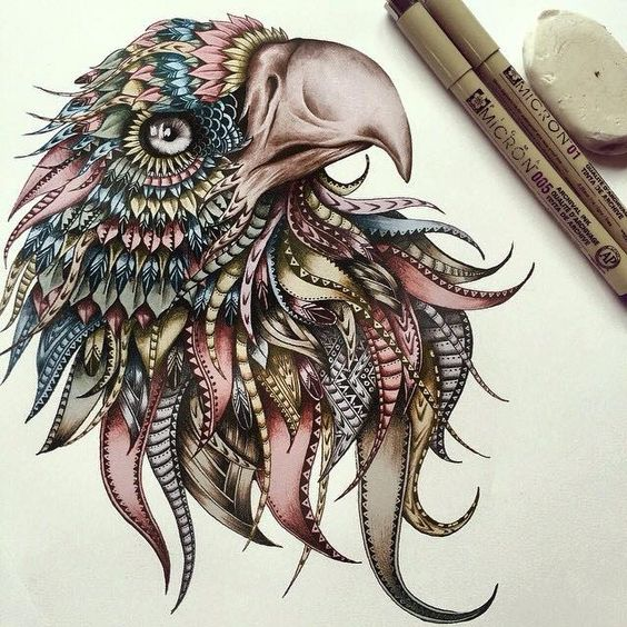 Pretty colorful patterned feather eagle tattoo design
