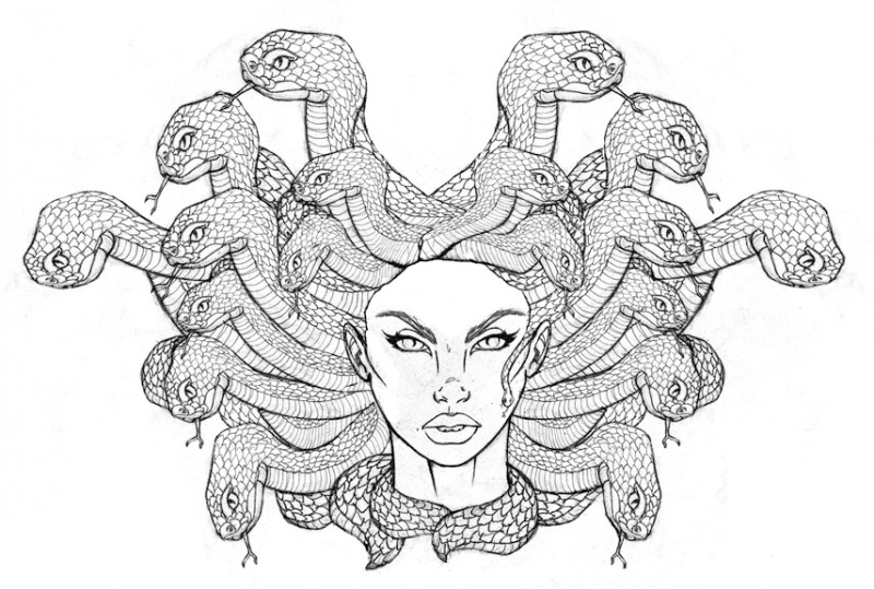 Pretty colorless medusa gorgona head with huge snakes tattoo design by Hungry Designs