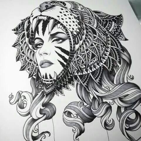 Pretty curly-haired girl in roaring jaguar head tattoo design