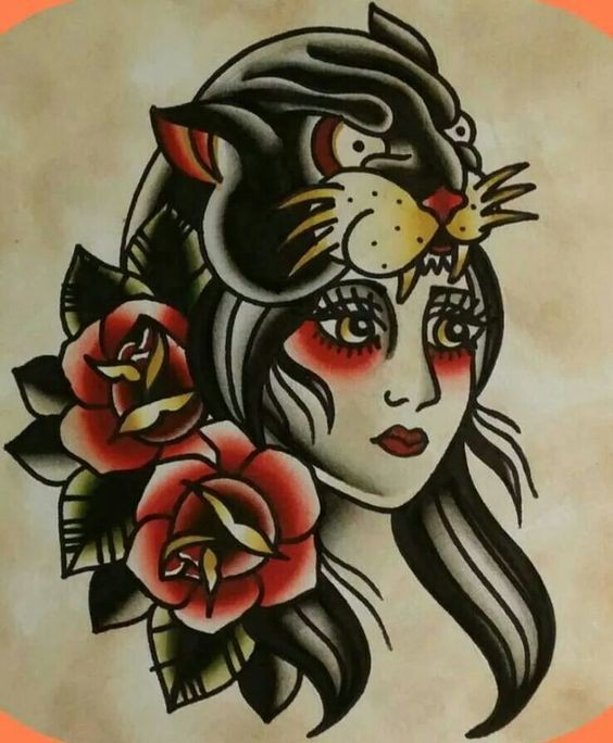 pretty girl and panther with roses in old school style tattoo design. Black Bedroom Furniture Sets. Home Design Ideas