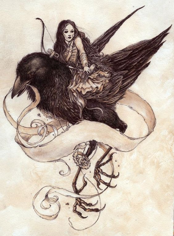 Pretty girl riding a black raven tattoo design