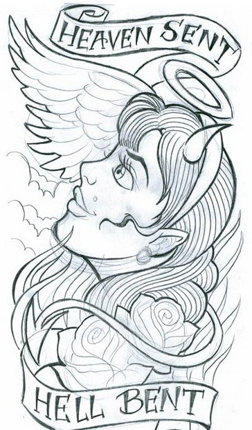 Pretty girl with angel wings and devil horns tattoo design
