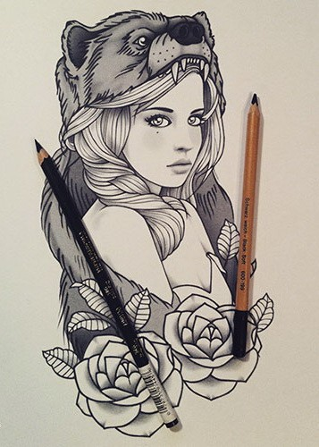 Pretty girl with grizzly on head and roses tattoo design