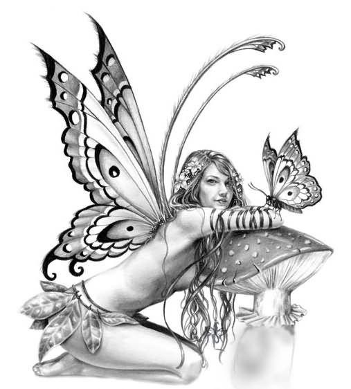 Pretty grey-ink fairy sitting near a mushroon with a butterfly tattoo design