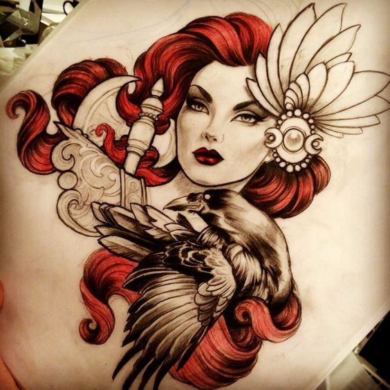 Pretty new school red-haired girl and black raven tattoo design