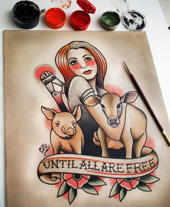 Pretty old school girl with domestic animals tattoo design