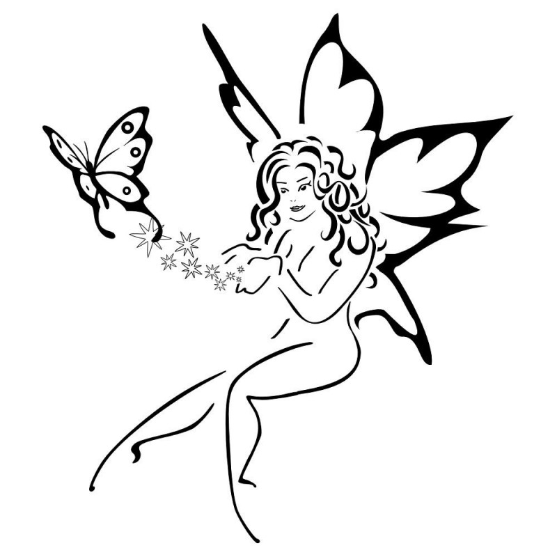 Pretty Outline Fairy And Flying Butterfly Tattoo Design