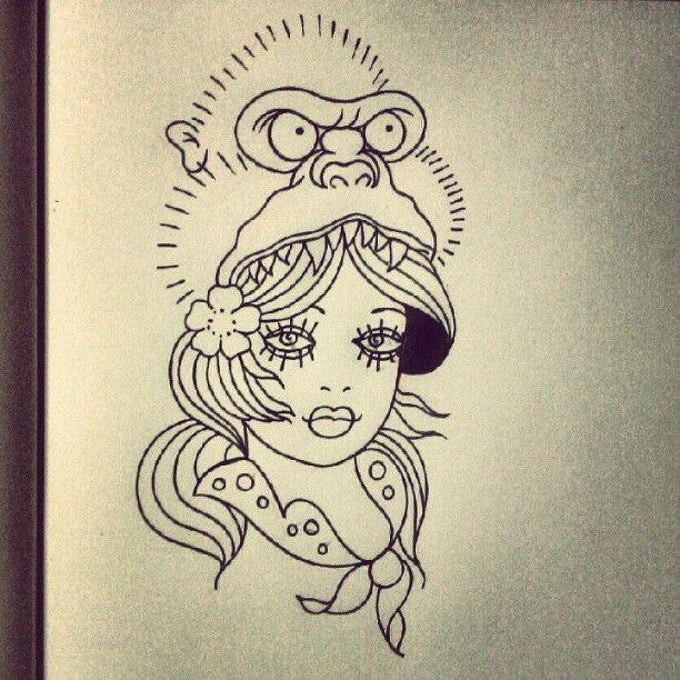 Pretty outline girl with gorilla on head tattoo design
