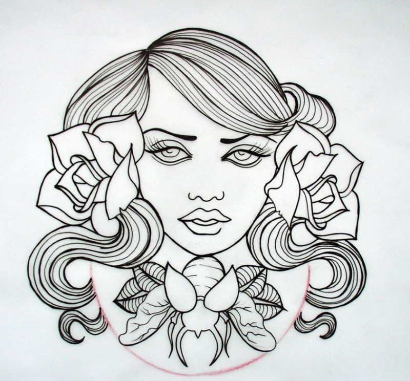 Pretty outline woman face with roses and flying bug tattoo design