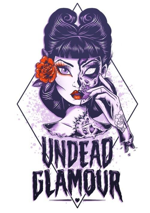 Pretty pin up zombie girl portrait with big lettering tattoo design