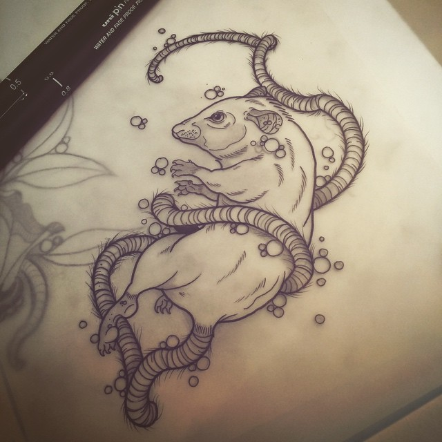 Pretty uncolored mouse entwined with its own tail tattoo design