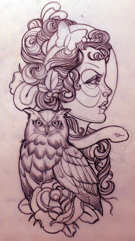 Pretty woman with owl and snake animals tattoo design
