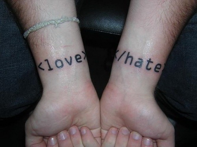 Printed love hate quote tattoos on arms