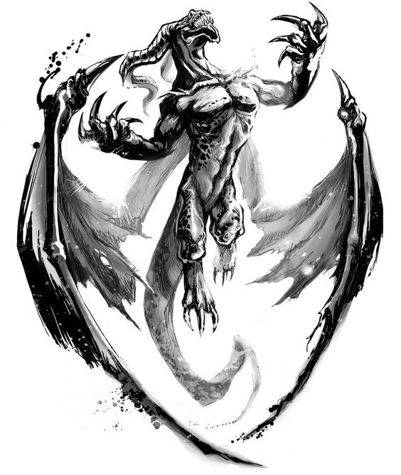Proud black-and-grey devil dragon with huge spread wings tattoo design