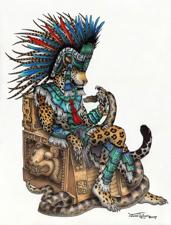Proud jaguarwarrior in colorful armour sitting on the throne tattoo design