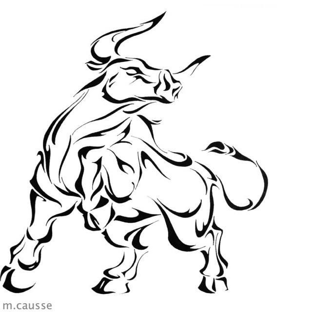Proud tribal bull in full size tattoo design