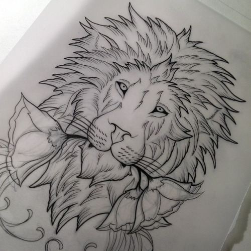 Proud Uncolored Lion Keeping A Flower In Mouth Tattoo